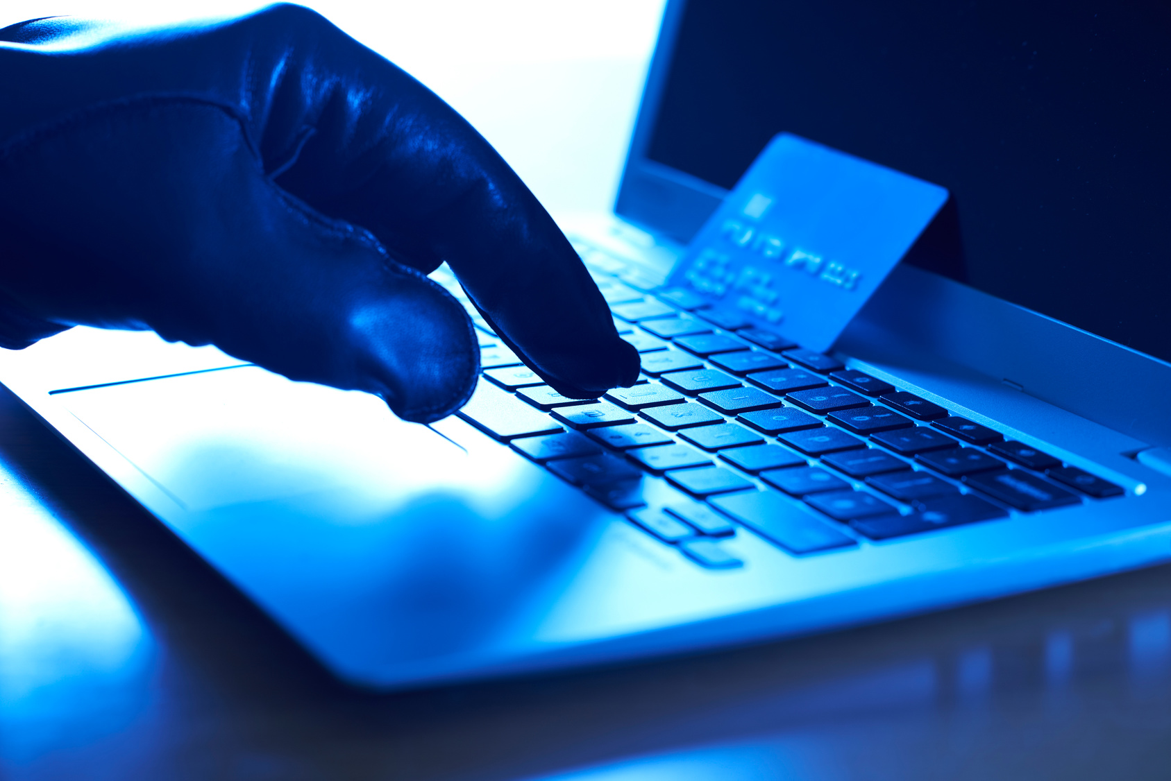 Cyber Criminal With Stolen Credit Card And Laptop